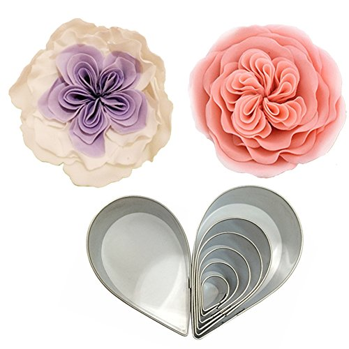 Gumpaste Cutter Tool (Cake Decorating Gumpaste Flowers Austin Rose Cutter Set Fondant Decor Kit Sugarcraft Modelling Tools for Cake Cupcake Decorating Stainless Steel)