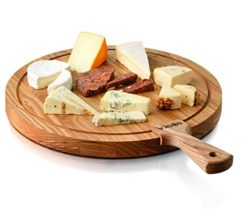 Boska Holland Life Collection Friends Round Wood Cheese Board with Handle, - Board Collection Cheese