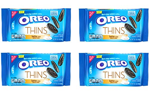 Oreo Thins Latte Creme Cookies - Pack of 4 Bags - 10.1 oz per Bag