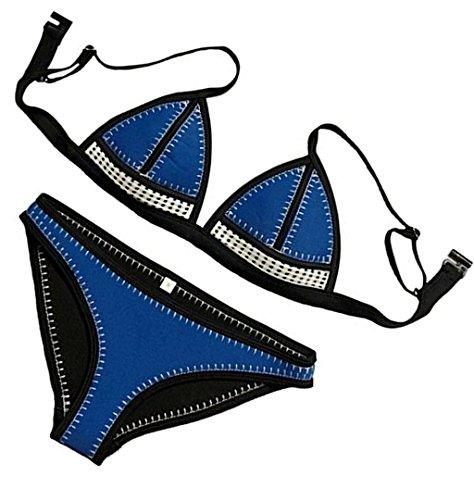 ZAFUAZ Women Padded Hand Stitch Crochet Bikini Sets Neoprene Swimwear L Blue