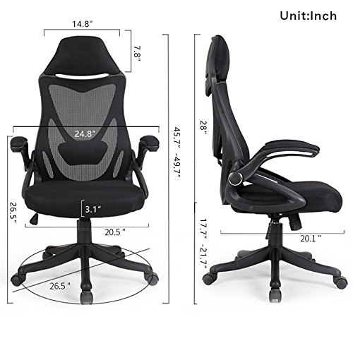BERLMAN Ergonomic High Back Mesh Office Chair with Adjustable Armrest Lumbar Support Headrest Swivel Task Desk Chair Computer Chair Guest Chairs Reception Chairs (Black) by Zenith (Image #4)