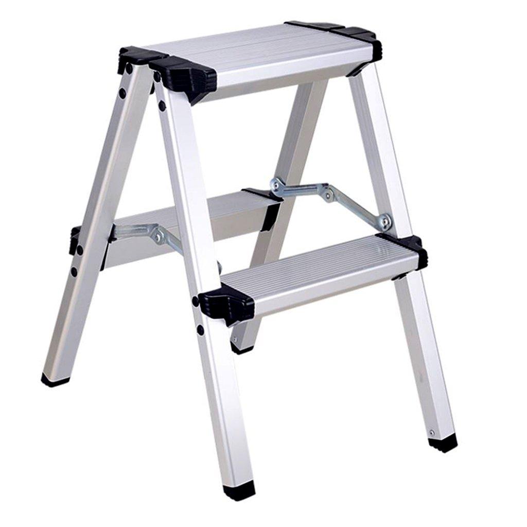 Ladder, Folding Ladder Thick Aluminum Ladder Home Multi-Function Portable Ladder Home Kitchen Ladder Stool (Color : Black, Size : 364349cm)
