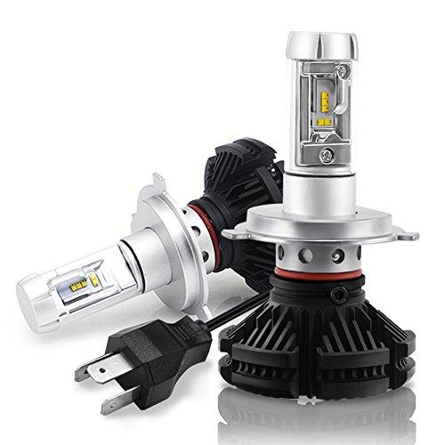 X3 50W H4 HB2 9003 Dual Beam LED Headlight, Mesllin 3000K 6500K 8000K ZES Chips Car Headlamp Bulb Conversion Kit with Hi-Lo Beam 12,000lms DIY 3 Colors (Pure White/Yellow/Cool White)- H4