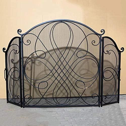 暖炉スクリーン 屋内&屋外のスパークガードカバーに赤ちゃん/ペットセーフティフェンス設計 - 花柄北欧ブラック暖炉スクリーン (Color : Black)