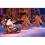 Lighted Holographic Santa Sleigh and Deer Christmas Decoration