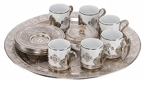 Ottoman Turkish Greek Arabic Coffee Espresso Patron Serving Cup Saucer Set - New Model Round FULL