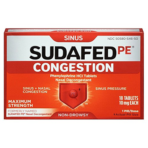Sudafed PE Congestion, Maximum-Strength Sinus Pressure and Nasal Congestion Relief, 18 Count (Decongestant Sudafed Nasal Sinus)