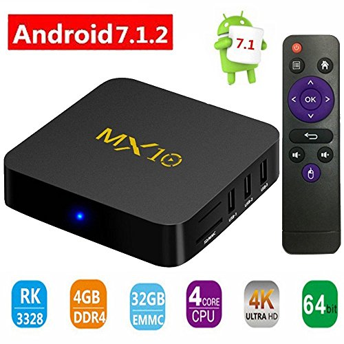 2018 Latest Version – Android 7.1.2 TV Box, TIMPROVE MX10 Streaming Media Player with RK3328 Quad Core DDR3 4GB+32GB, Support 2.4GHz WIFI/100M LAN/3D Movies/4K Solution
