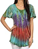 Sakkas 14783 - Dina Relaxed Fit Sequin Tie Dye Embroidery Cap Sleeves Blouse / Top - Turquoise - OSP