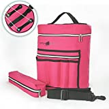 Stitch Happy Knitting Bag - Yarn Tote Organizer w/Tool Case, 7 Pockets + Divider for Extra Storage of Projects, Supplies & Crochet (Fuchsia)