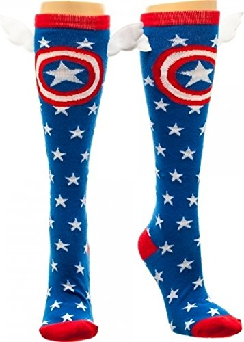 Captain America Shield and Stars Knee High Socks with Wings (America Girls Clothes compare prices)