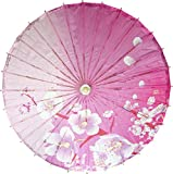 Oriental Decor 32 inch Soft Pink Blossoms Sun Umbrella Bamboo and Paper Parasol for Everyday Use and Events like Weddings and Costume Cosplay