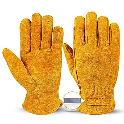 OZERO Leather Work Gloves Flex Extra Grip for Construction/Farming/Wood Cutting/Gardening