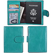 Banuce Italian Leather Passport Cover Card Holder Travel Wallet