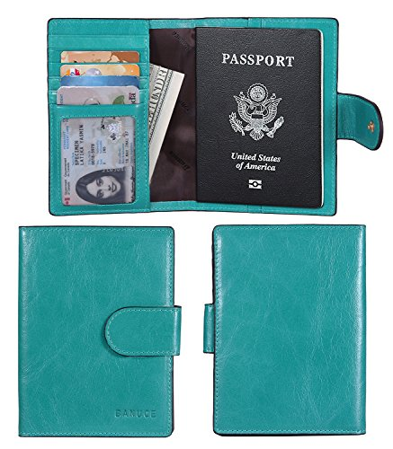 Banuce Italian Leather Passport Cover Card Holder Travel Wallet Color Green -