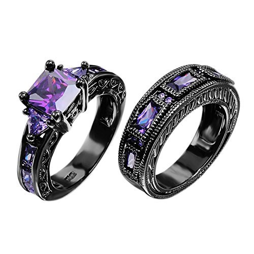 European Style Amethyst Two Pieces Promise Rings for Couples Black Gold Plated Women Sz-8 & Men Sz-10