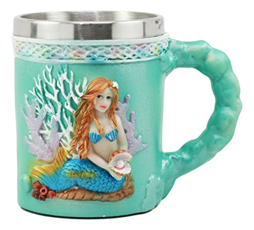 Ebros Turquoise Ocean Marine Coral Reef Mermaid With Pearl Mug 12oz For Bridal Nautical Fantasy Fairy Tale Gifts Beer Stein Tankard Coffee Cup For Drinking 6