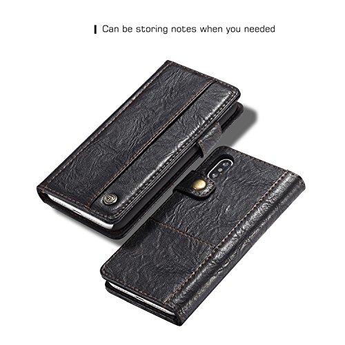 JIALUN-Caja del teléfono o cubierta Funda de cuero de lujo CaseMe para iPhone X Funda de cuero magnética para teléfono multifunción Flip Funda de tarjeta para iPhoneX Protege tu teléfono ( Color : Red Black