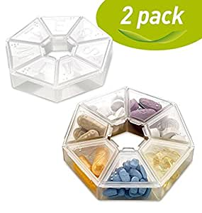 MEDca Weekly Pill Organizer Clear 7-Sided Pill Reminder, Round Shaped PACK OF 2