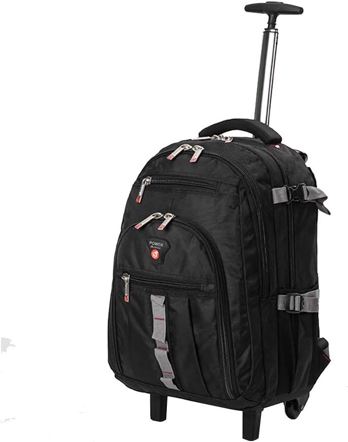 18 Inch Nylon Rolling Backpack, Water-Resistant Laptop Wheeled Rolling Bag for Travel College Business, Black