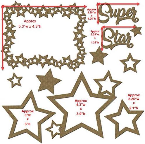 Laser Cut Chipboard 11 Piece Set Super Star Scrapbook Embellishments