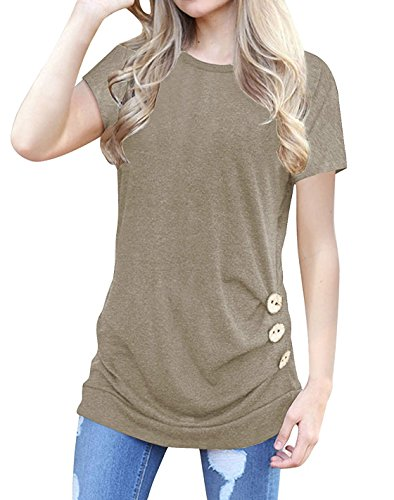 Dutebare Womens Casual Short Sleeve Round Neck Loose Tunic Shirt Button Side Blouse Tops Khaki S - Neck Tunic Blouse