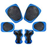 Child Kids Protective Gear Set,Knee and Elbow Pads with Wrist Guards Toddler for Multi-sports Cycling ,Bike,Rollerblading, Skating, Volleyball (Blue)