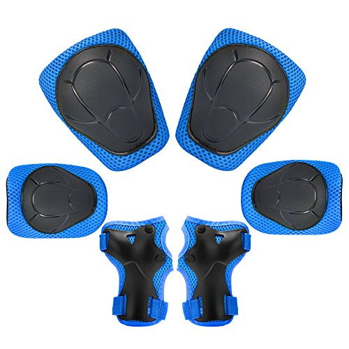 KUYOU Child Kids Protective Gear Set,Knee and Elbow Pads with Wrist Guards Toddler for Multi-Sports Cycling,Bike,Rollerblading, Skating, Volleyball (Blue)
