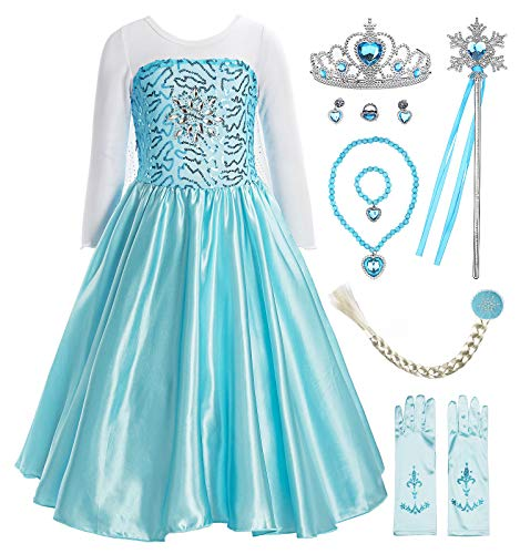 ReliBeauty Little Girls Princess Fancy Dress Elsa Costume with Accessories, 7, Sky -