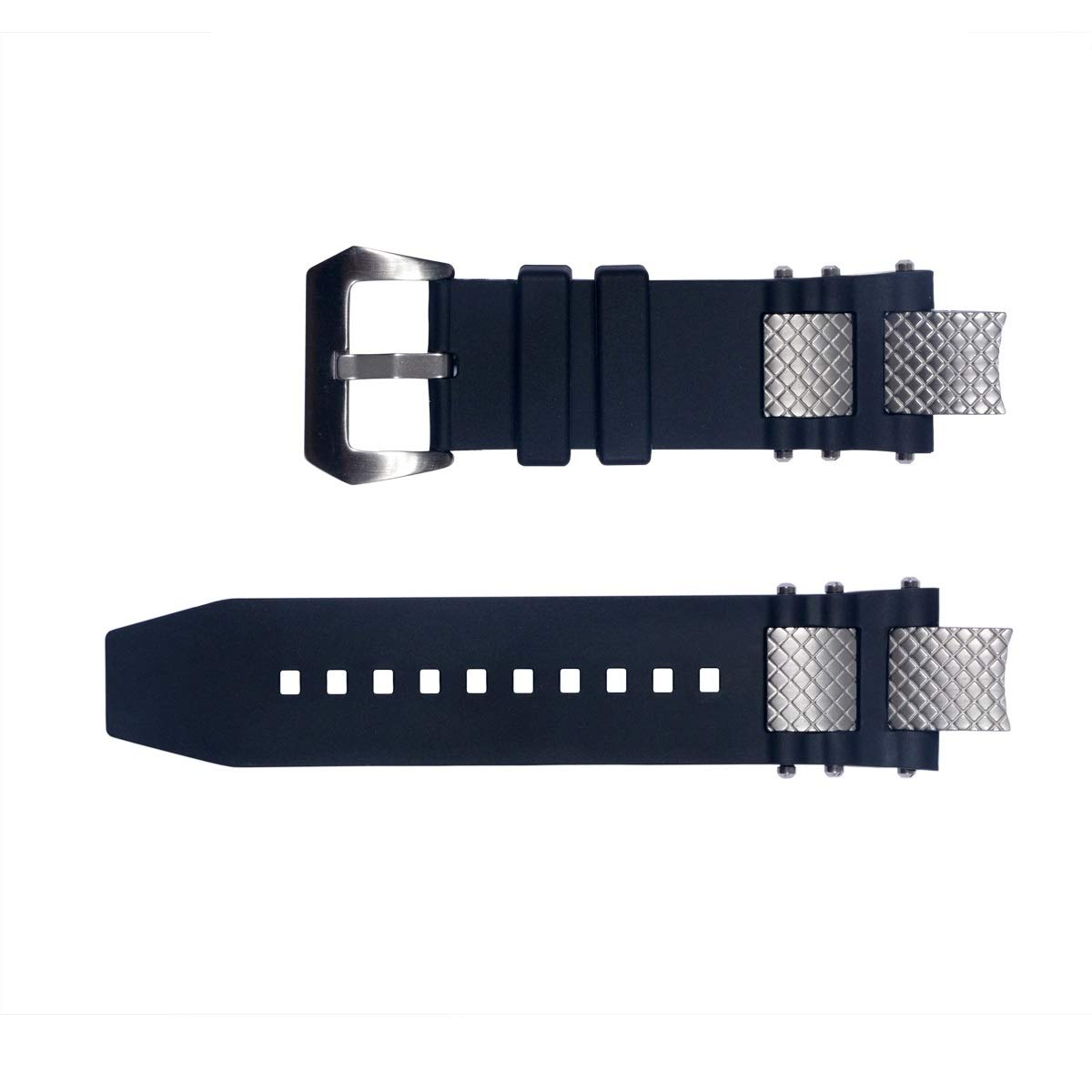 Vicdason for Invicta Subaqua Noma III Watch Bands Replacement Strap with Bukcle Metal Inserts - Black Rubber Silicone Invicta Watch Strap by Vicdason