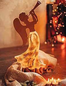 Madera Ángel con oxidado trompeta 72cm de alto