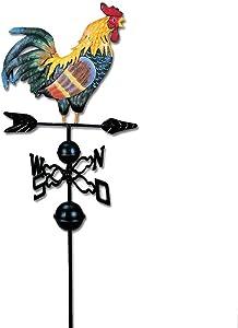 fineshelf Weather Vane with Rooster Ornament, Iron Wind Vane Weather Vane,Funny Garden Decor,Suitable for Garden Yard Patio Decor