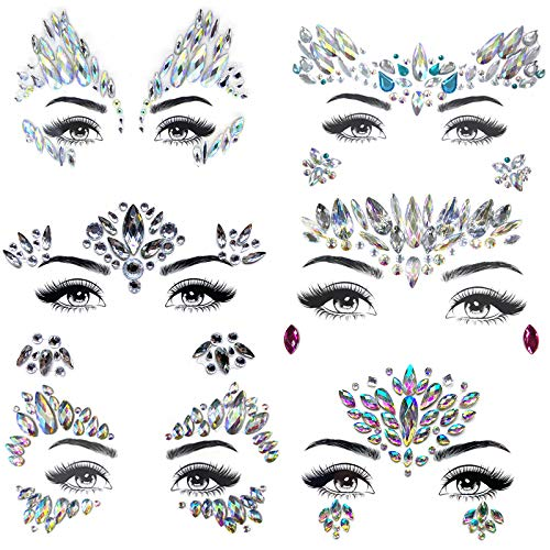 - ZLXIN Face Gems Temporary Tattoo Stickers Acrylic Crystal Glitter Stickers Waterproof Face Jewels Rainbow Tears Rhinestone Eye Decoration for Party, Rave Festival, Dress-up (6 Pcs A Set) (Style 6)