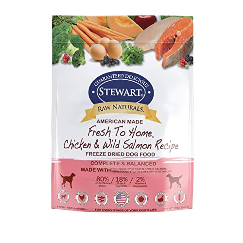 (Stewart Raw Naturals Freeze Dried Dog Food Grain Free Made in USA with Chicken & Salmon, Fruits, & Vegetables for Fresh To Home All Natural Recipe, 12 oz.)