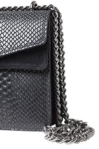 Diseño y Auténtica de Negro o Mujer Modelo Hombro Shoulder Portofino Bag de de lleva BARONI Bolso de Se Exclusivo Elegante Bolso Piel MASSIMA Atemporal Cruzado Como de wSpF1xnz6q