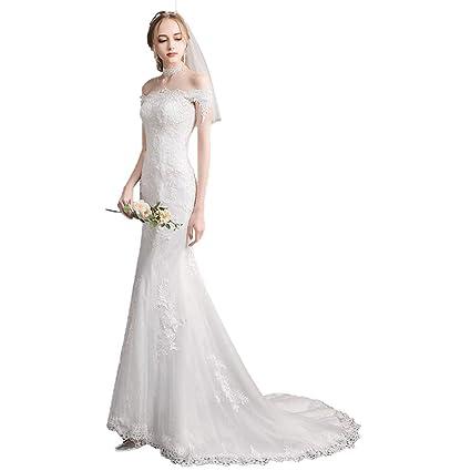 Vestido de novia de la Sirena Nupcial, Hombro, Gasa de Trailing pequeño Ailin Home