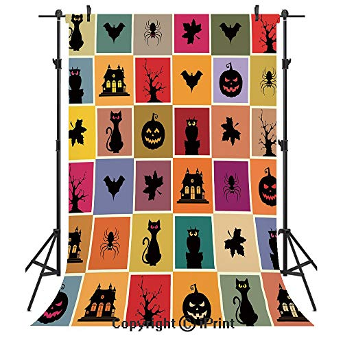 Vintage Halloween Photography Backdrops,Bats Cats Owls Haunted Houses in Squraes Halloween Themed Darwing Art Decorative,Birthday Party Seamless Photo Studio Booth Background Banner ()