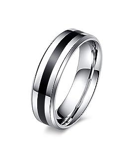 HDCooL Matte Edelstahlring für Damen & Herren High Polish Wedding Band Ring Comfort Fit 6 mm Wide Geeignet als Verlobungsringe Freundschaftsringe & Partnerringe 8#