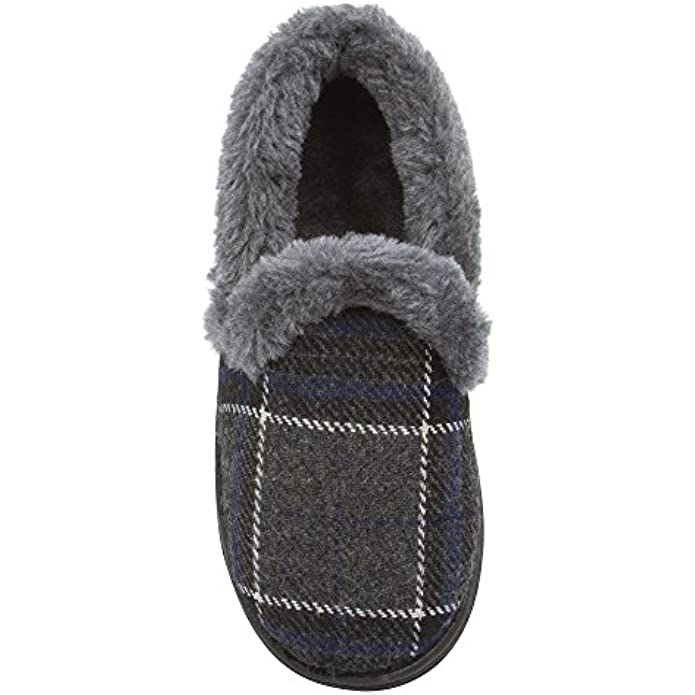 Skysole Boys Plaid Closed Back Slipper with Plush Collor and Rugged Ousole