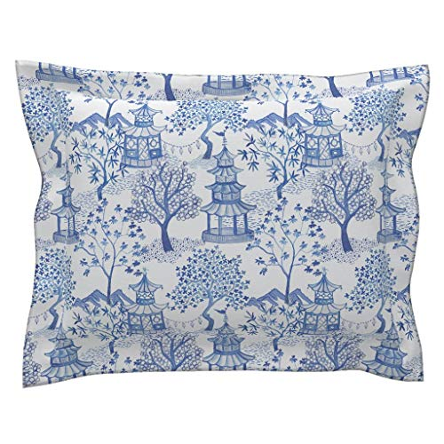 - Roostery Pagoda Flanged Pillow Sham Pagoda Chinoiserie Blue White Vintage Pagoda Cloud Chinoiserie Toile Landscape Blue Willow Blue by Danika Herrick 100% Cotton Sateen