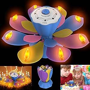 Homecube Velas de Cumpleaños LED, luz Parpadeante sin Llama con 3 Modos de Flash Ajustables, Velas de Torta de Lotus Giratorio con SOPLAR Diseño para ...