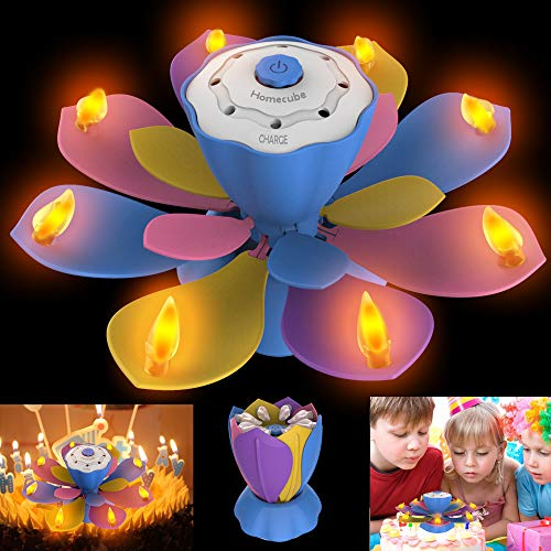 Homecube LED Birthday Candles, Flameless Musical Birthday Candles with 3 Adjustable Flash Modes, Rotatable Flower Birthday Cake Toy with Blow Out Design for Birthday Party Decoration (Colorful)