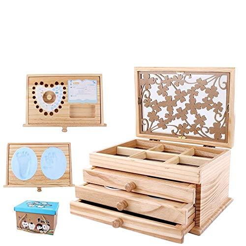 Newborn Baby Keepsake Memories Shower Present Gift Wooden Box Unisex Set - Birth Certificate Holder, Handprint Kit, Baby Tooth - Boys and Girls Designs Available #1 from VolksRose