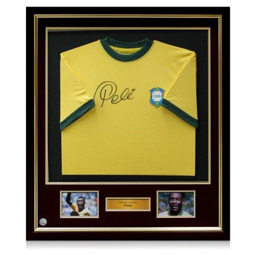 Deluxe Framed Pele Signed Brazil 1970 Soccer Jersey