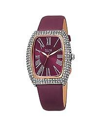 Burgi BUR237 - Reloj rectangular para mujer con correa de piel con cristales Swarovski y diamantes, Borgoña