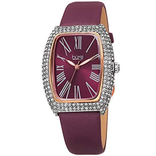 Burgi Rectangle Swarovski Crystal & Diamond Watch - Accented Leather Strap Women's Watch - Roman Numerals - Mother's Day Gift- BUR237BUR (Burgandy)