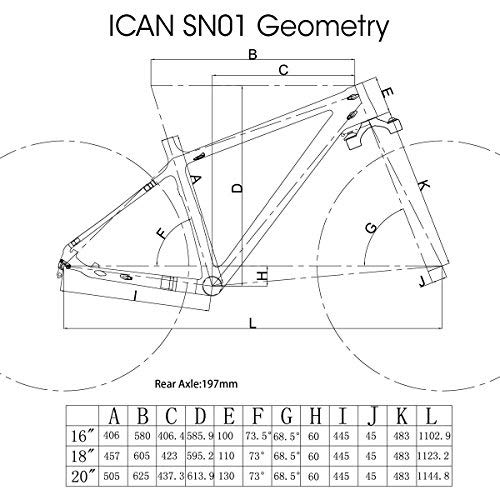 ICAN 26er Carbon Fat Tire Snow Bike Frame BSA 16 Inch