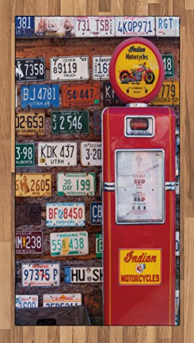 Americana Area Rug by Lunarable, Various Old American License Plates Behind Antique gas Pump in Rural Utah, Flat Woven Accent Rug for Living Room Bedroom Dining Room, 2.6 x 5 FT, Red (Antique Gas Pump)