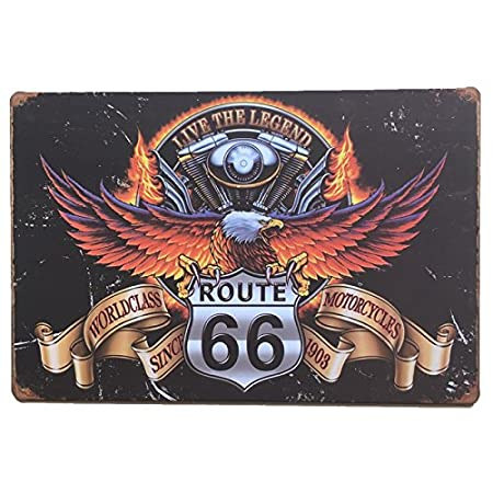 MARQUISE & LOREAN Ruta 66 Decoración Pared | Placa Decorativa Vintage Route | Cartel Chapa Póster (Fire, 20 x 30 cm)
