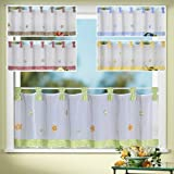 Curtain Window Country Chic Spring Gingham Tab Top Bistro Country House Floral Embroidery, H x W 45 x 150cm, Falls BeautifullyUnpack, Hang And It's Done Type 78, Fabric, grün, HxB 45x150 cm